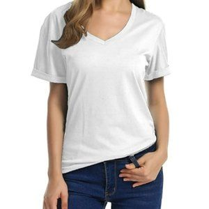 Meaneor Women's V-Neck Shirts Short Sleeve Loose